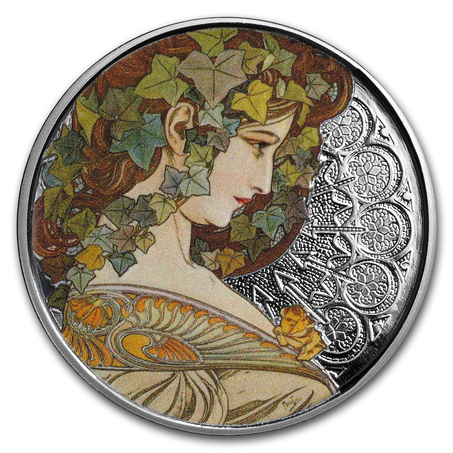 1 oz Silver Colorized Round Mucha Collection (Ivy)