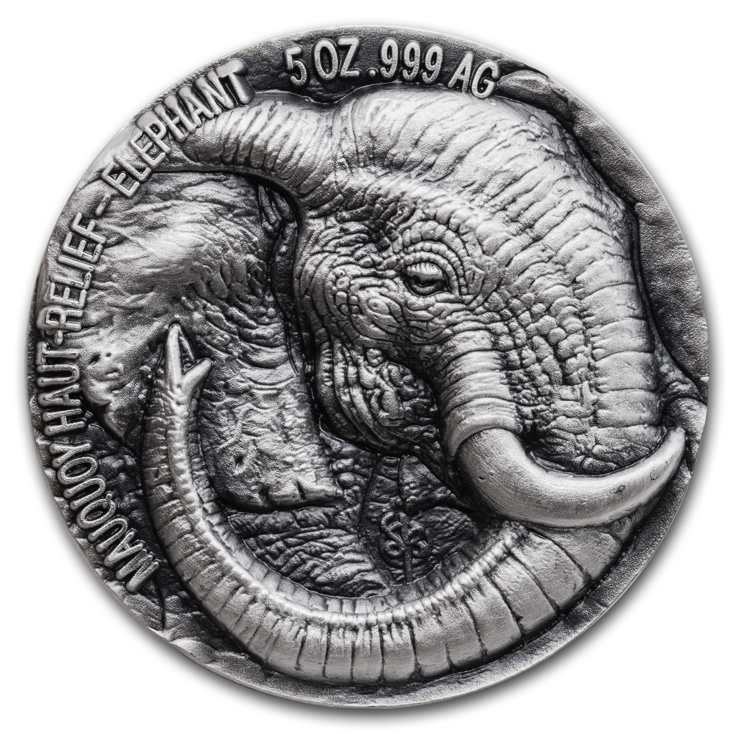 2017 Ivory Coast 5 oz Silver 5000 Fr Mauquoy Haut Relief Elephant