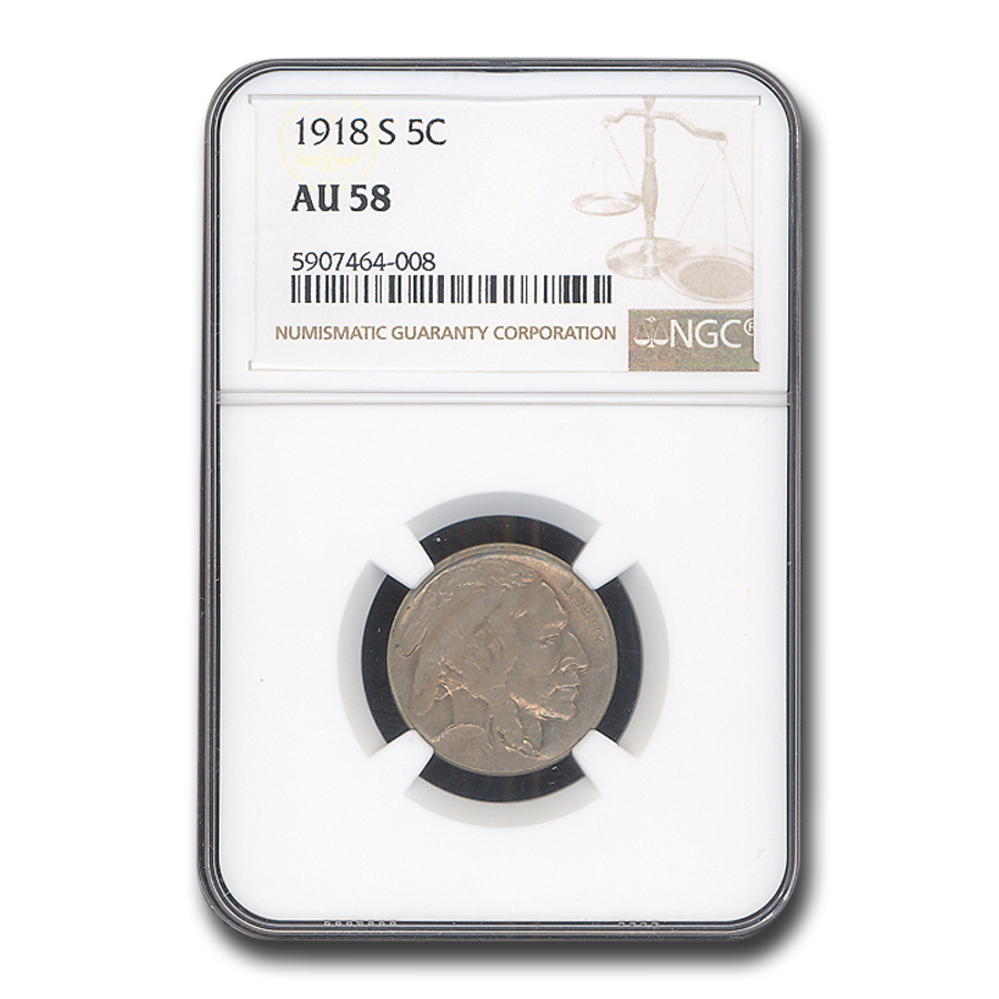 1918-S Buffalo Nickel AU-58 NGC