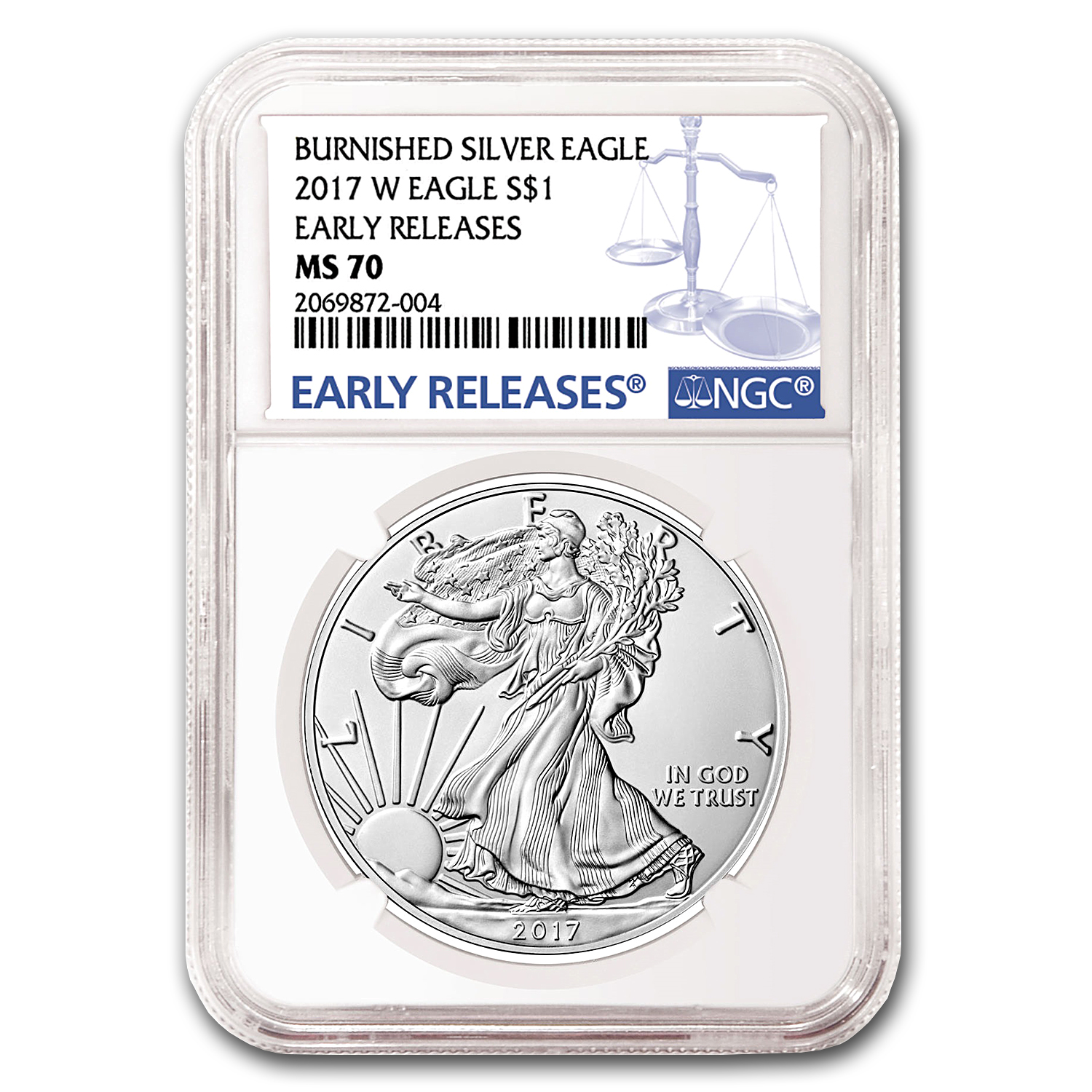 2017-W Burnished Silver Eagle MS-70 NGC (Early Releases)