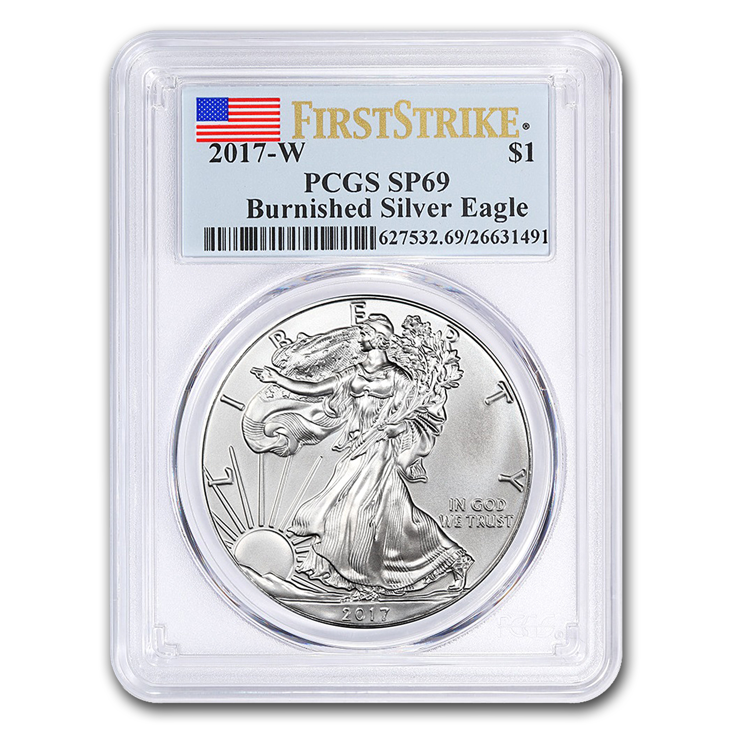 2017-W Burnished Silver American Eagle SP-69 PCGS (First Strike)