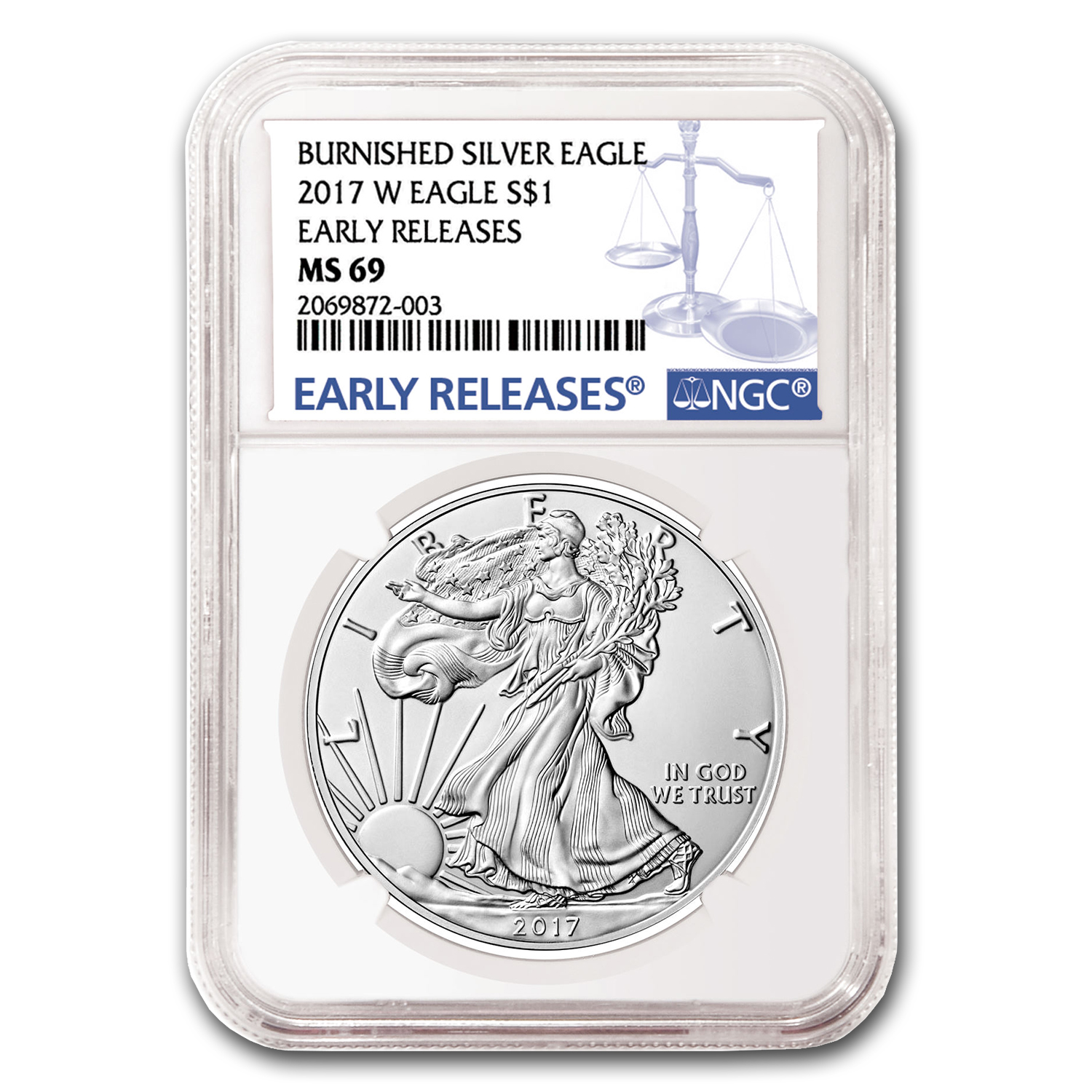 2017-W Burnished Silver Eagle MS-69 NGC (Early Releases)
