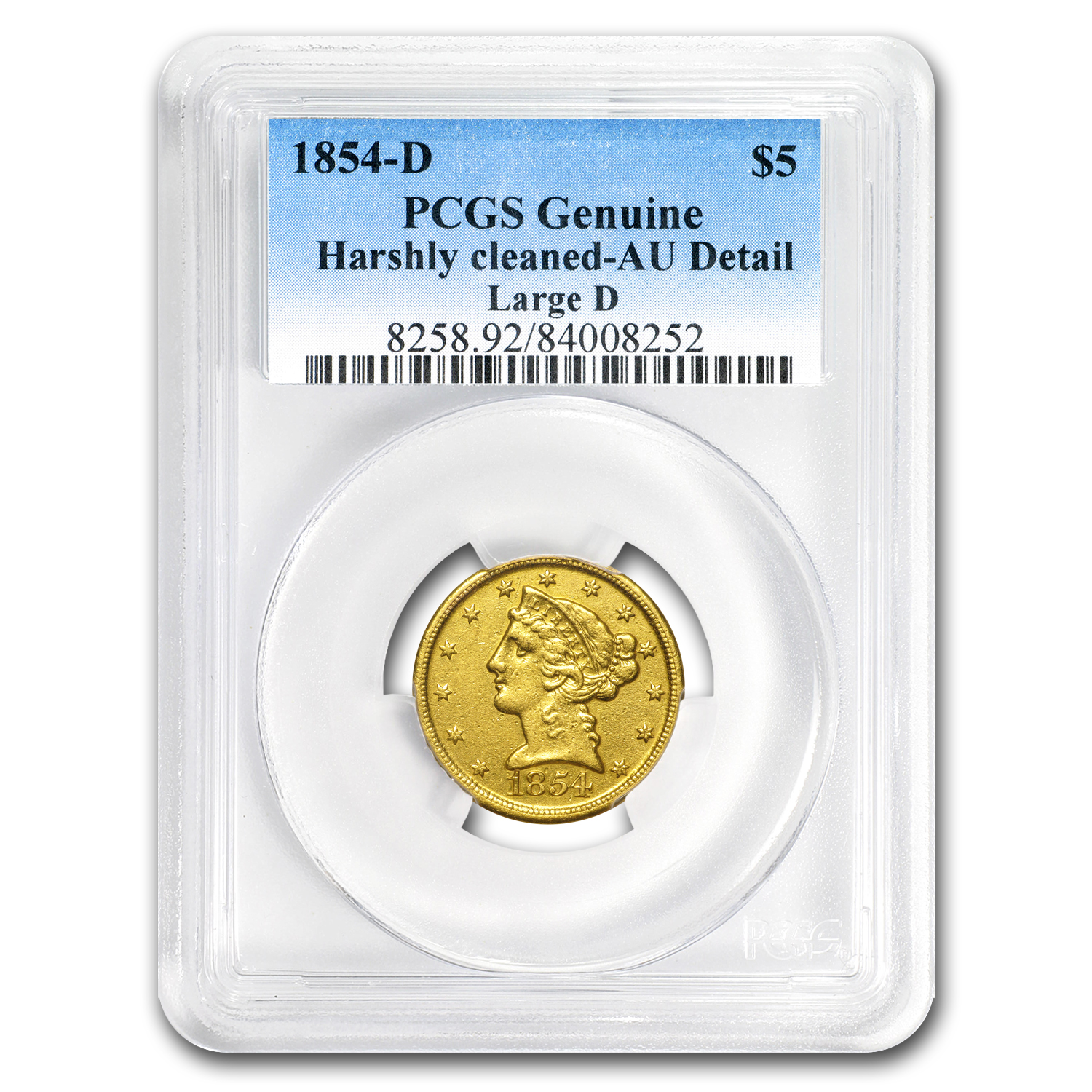 1854-D $5 Liberty Gold Half Eagle AU Details (Cleaned) PCGS