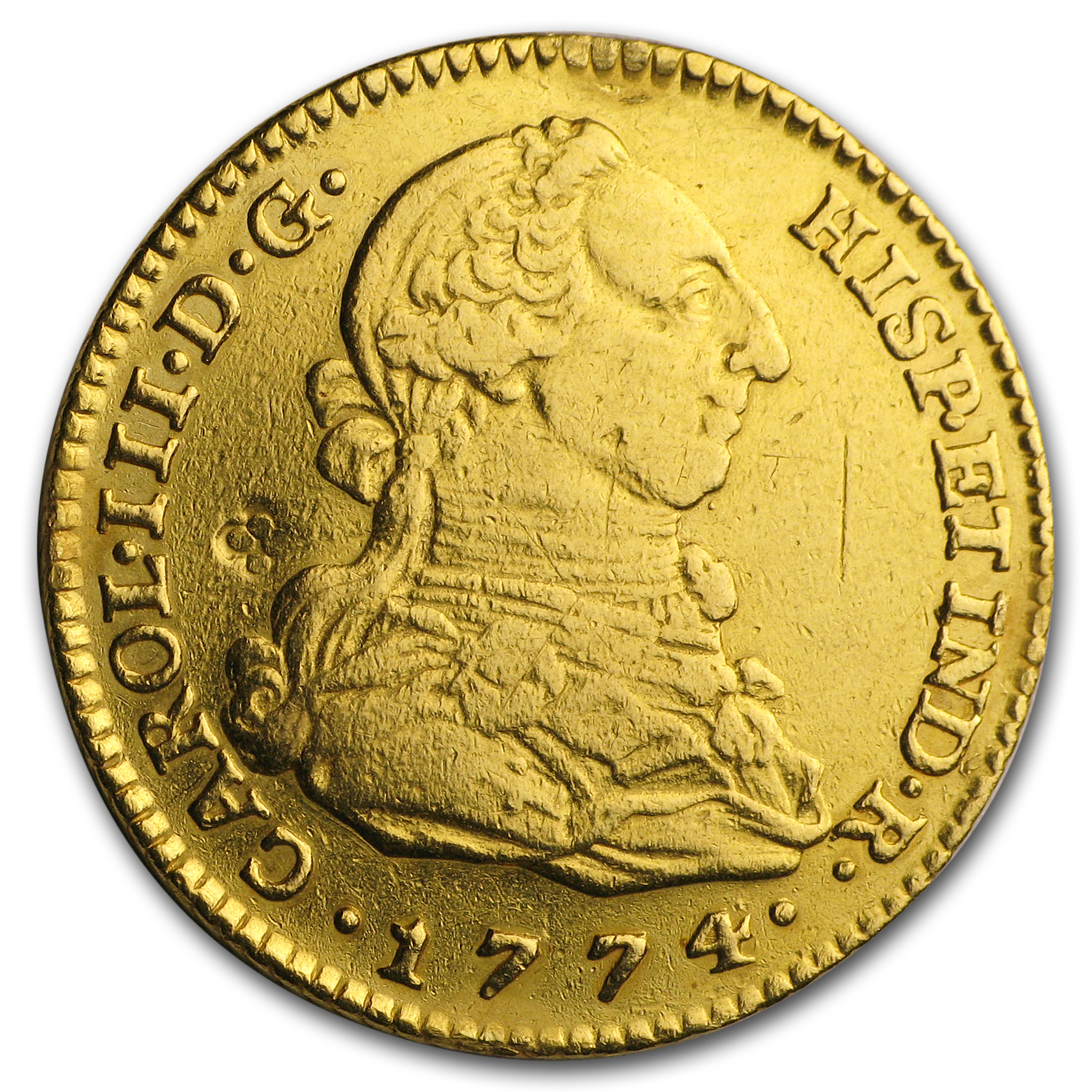 1774-M PJ Spain Gold 2 Escudo XF Details (Cleaned)