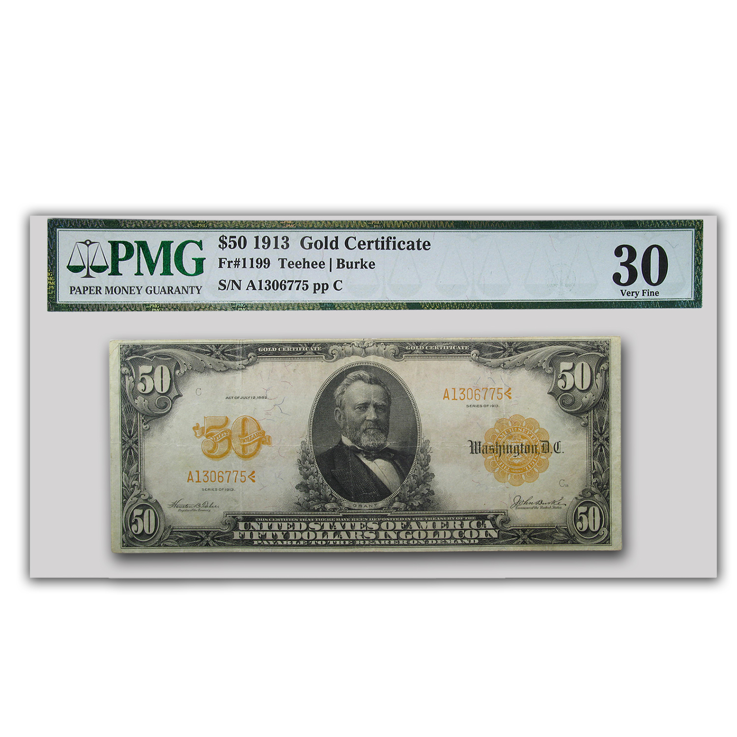 1913 $50 Gold Certificate Choice VF-30 PMG