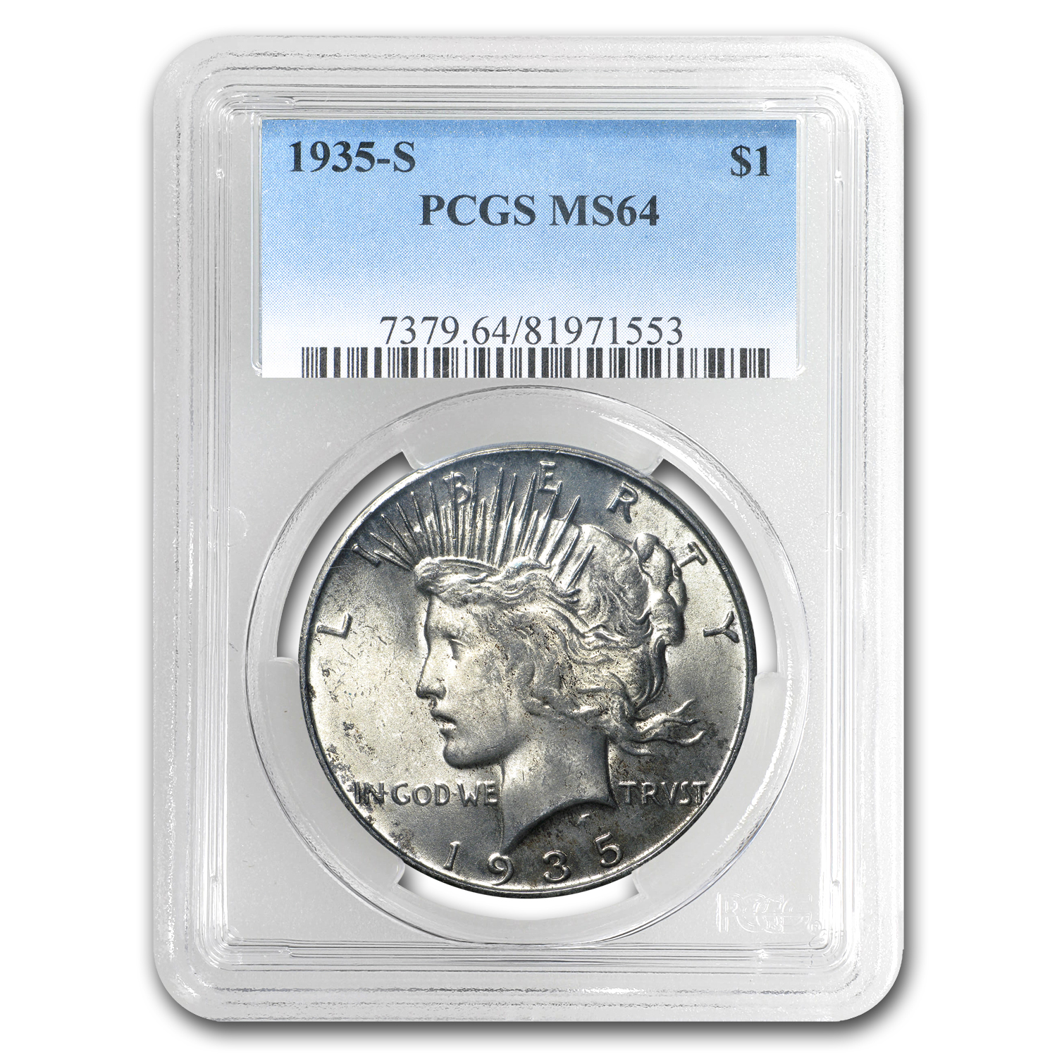 1935-S Peace Dollar MS-64 PCGS (Toned)