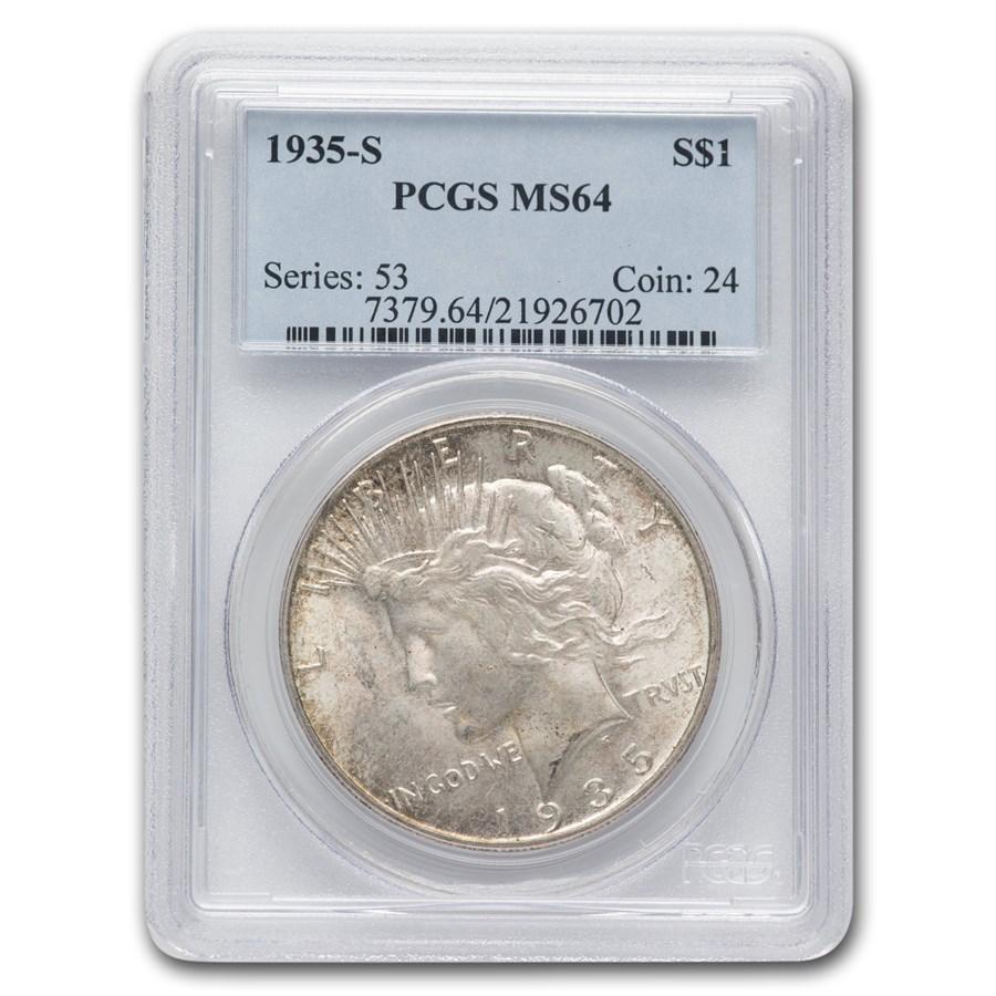 1935 S Peace Dollar Ms 64 Pcgs Toned Peace Dollars