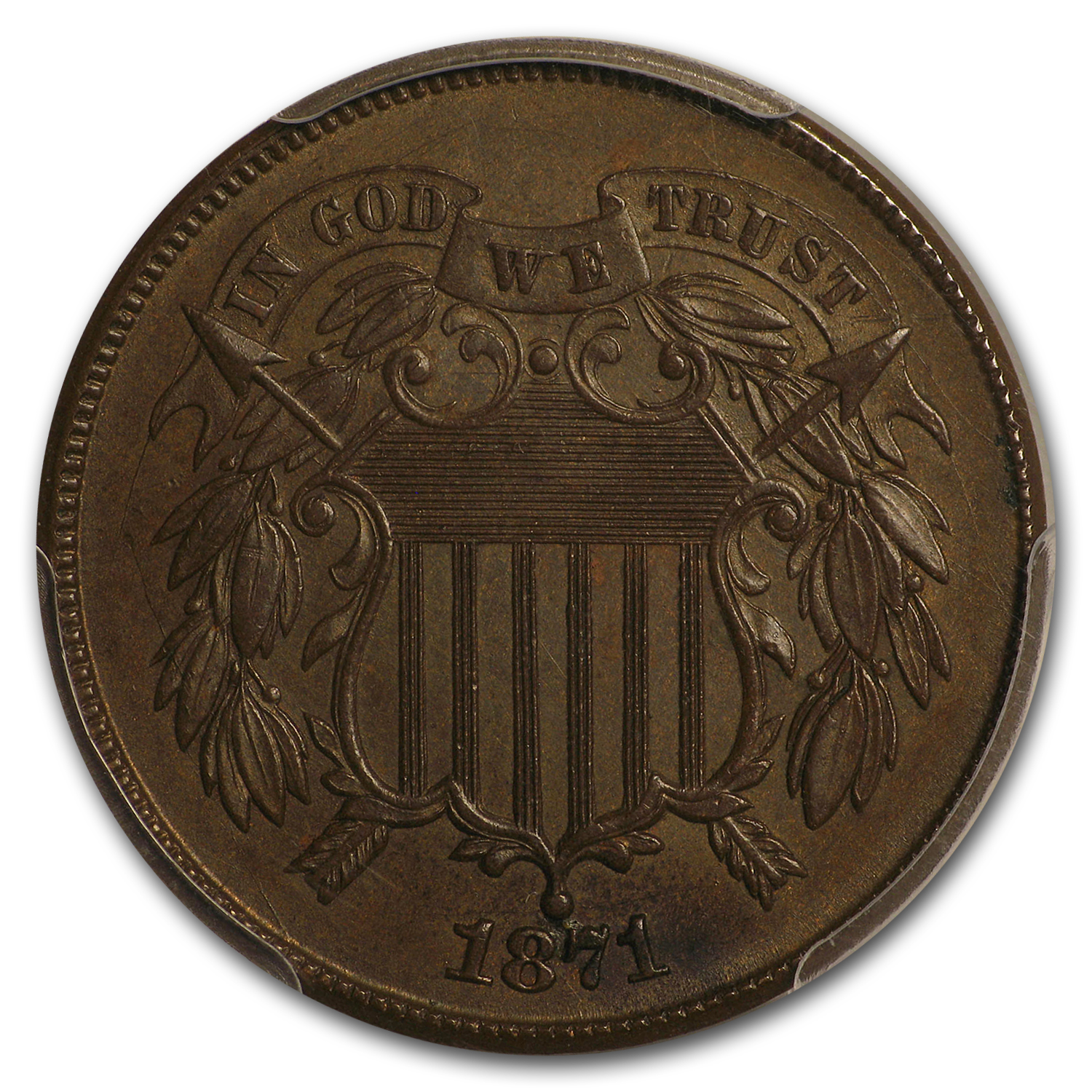 1871 Two Cent Piece MS-63 PCGS (Brown)