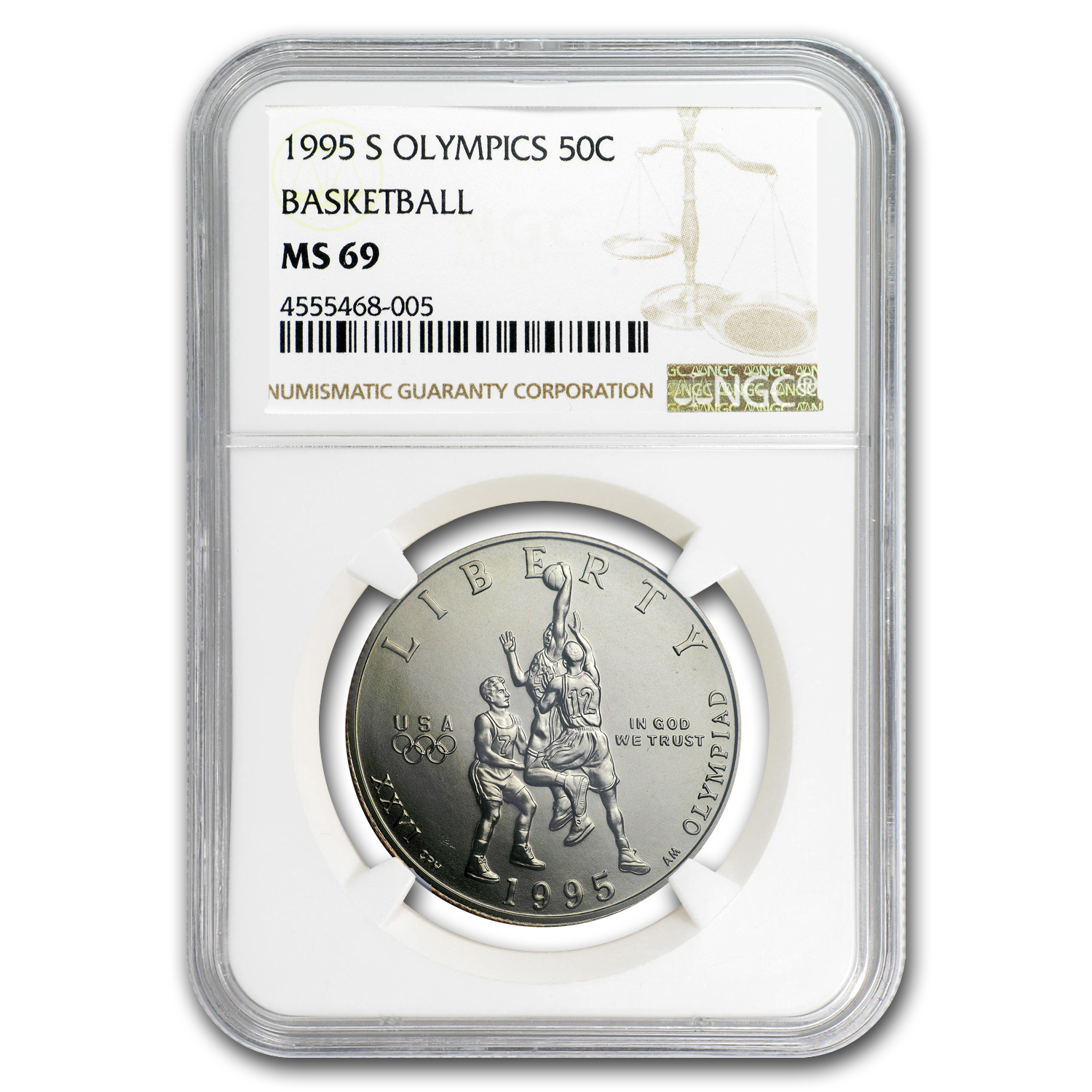 1995-S Olympic Basketball 1/2 Dollar Clad Commem MS-69 NGC