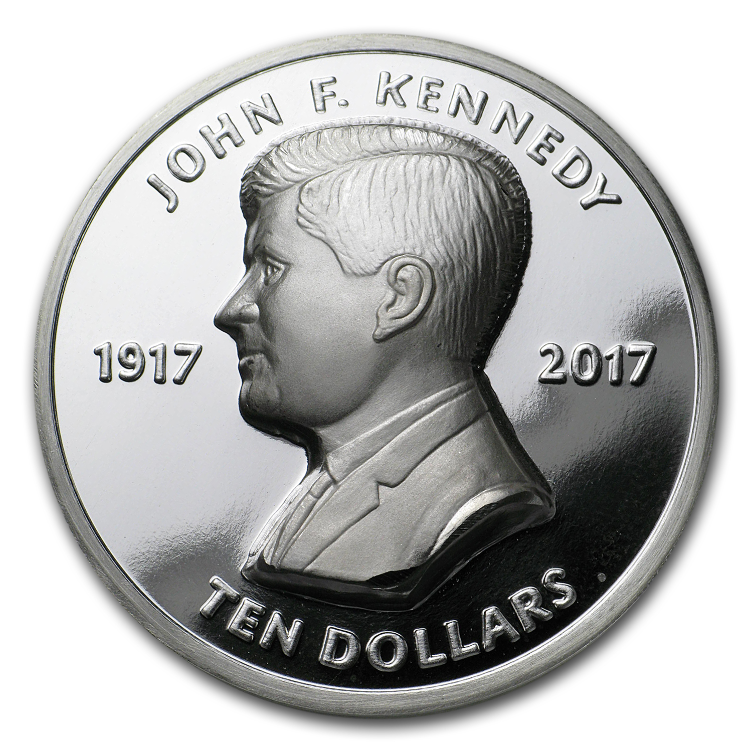 2017 BVI Silver $10 John F Kennedy (Ultra High Relief)