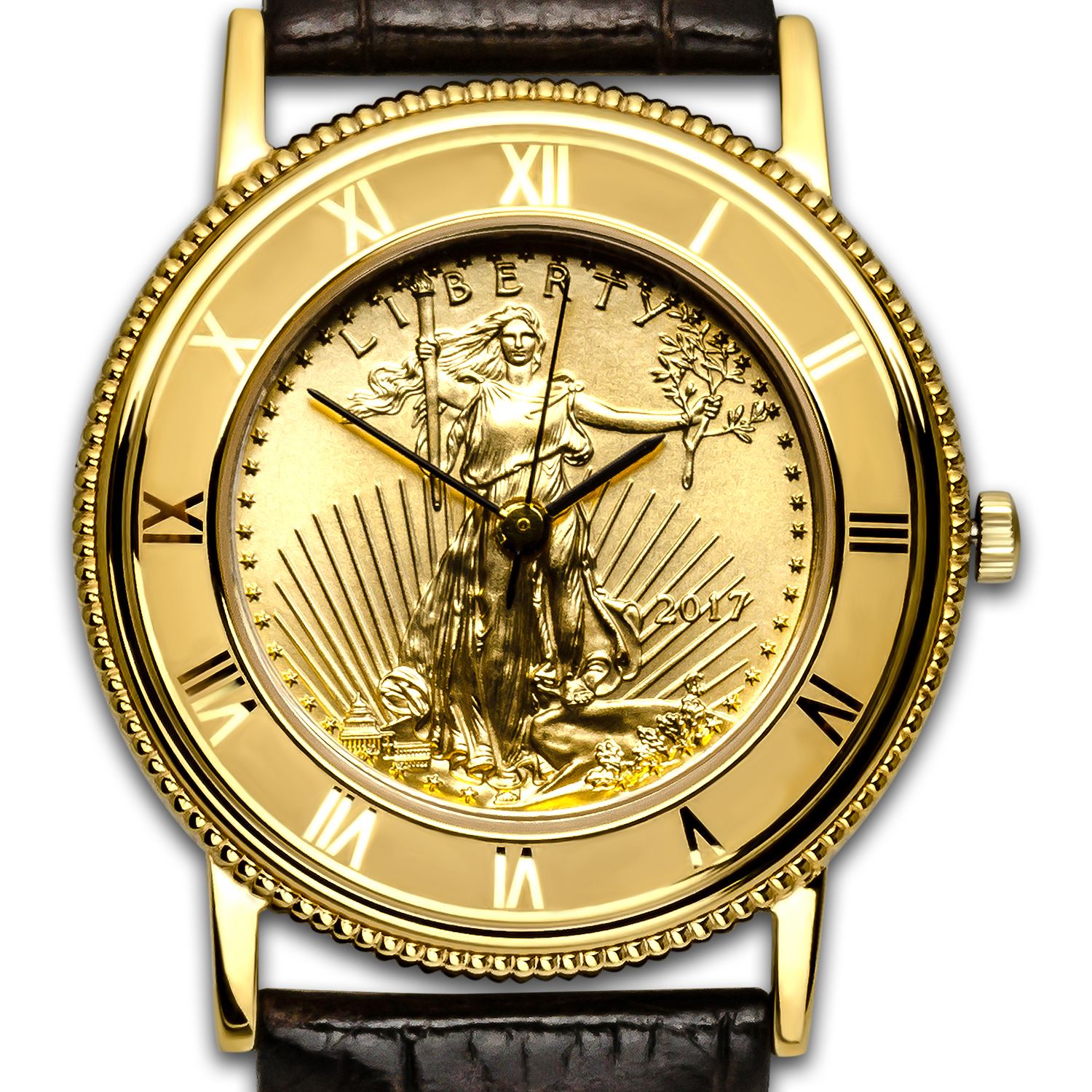 2017 1/2 oz Gold American Eagle Leather Band Watch