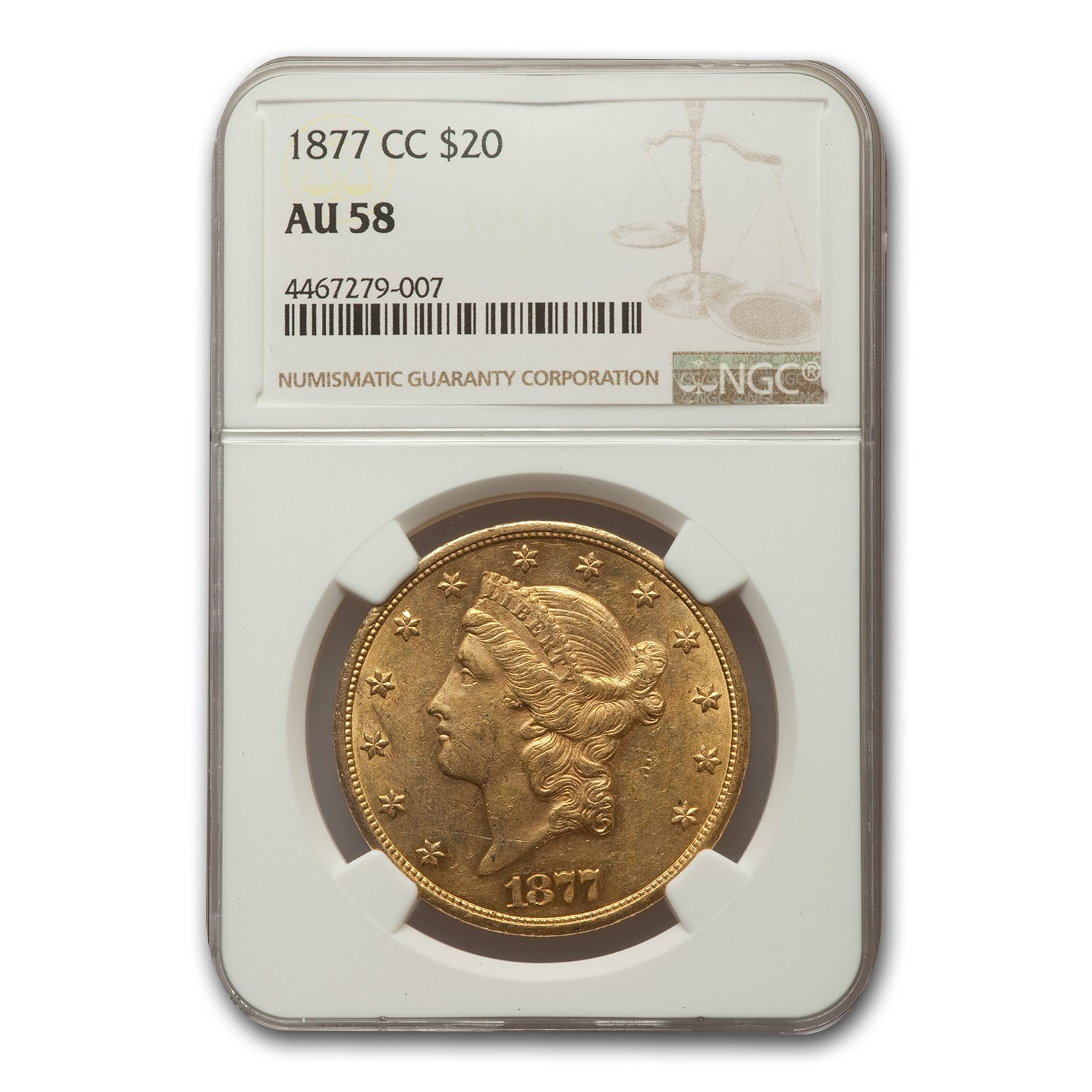 1877-CC $20 Liberty Gold Double Eagle AU-58 NGC