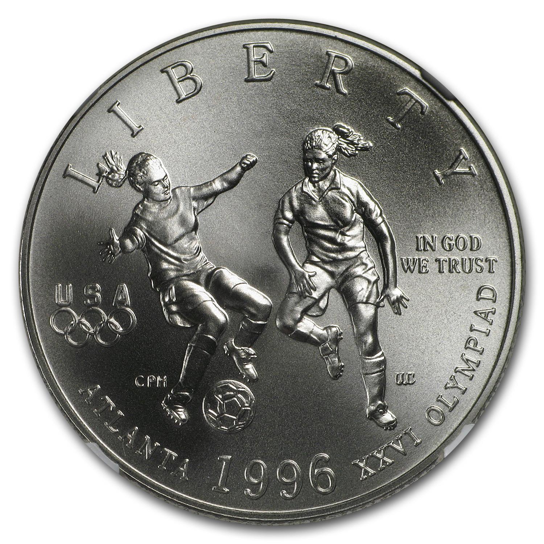 1996 S Olympic Soccer 1 2 Dollar Clad Commem Ms 70 Ngc