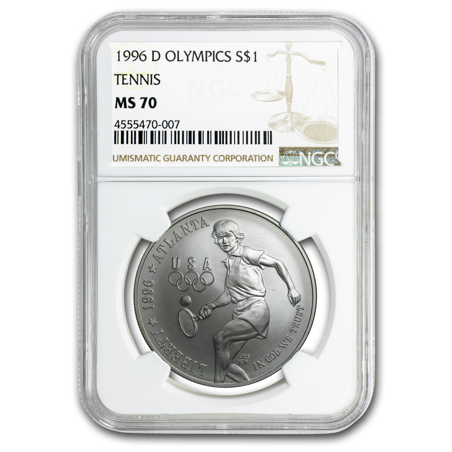 1996-D Olympic Tennis $1 Silver Commem MS-70 NGC