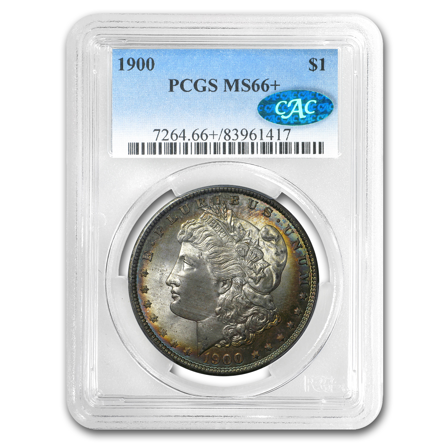 1900 Morgan Dollar MS-66+ PCGS (CAC) (Toned)