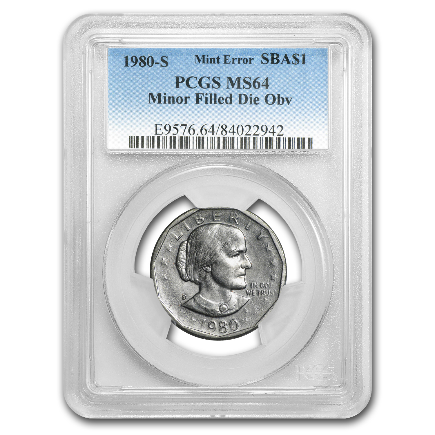 1980-S Susan B Anthony Dollar MS-64 PCGS (Mint Error)