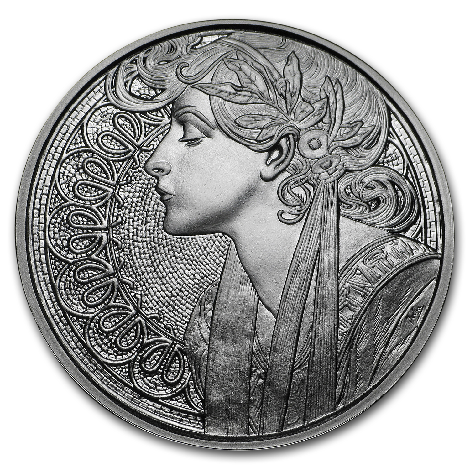1 oz Silver Proof Round Mucha Collection (Laurel)