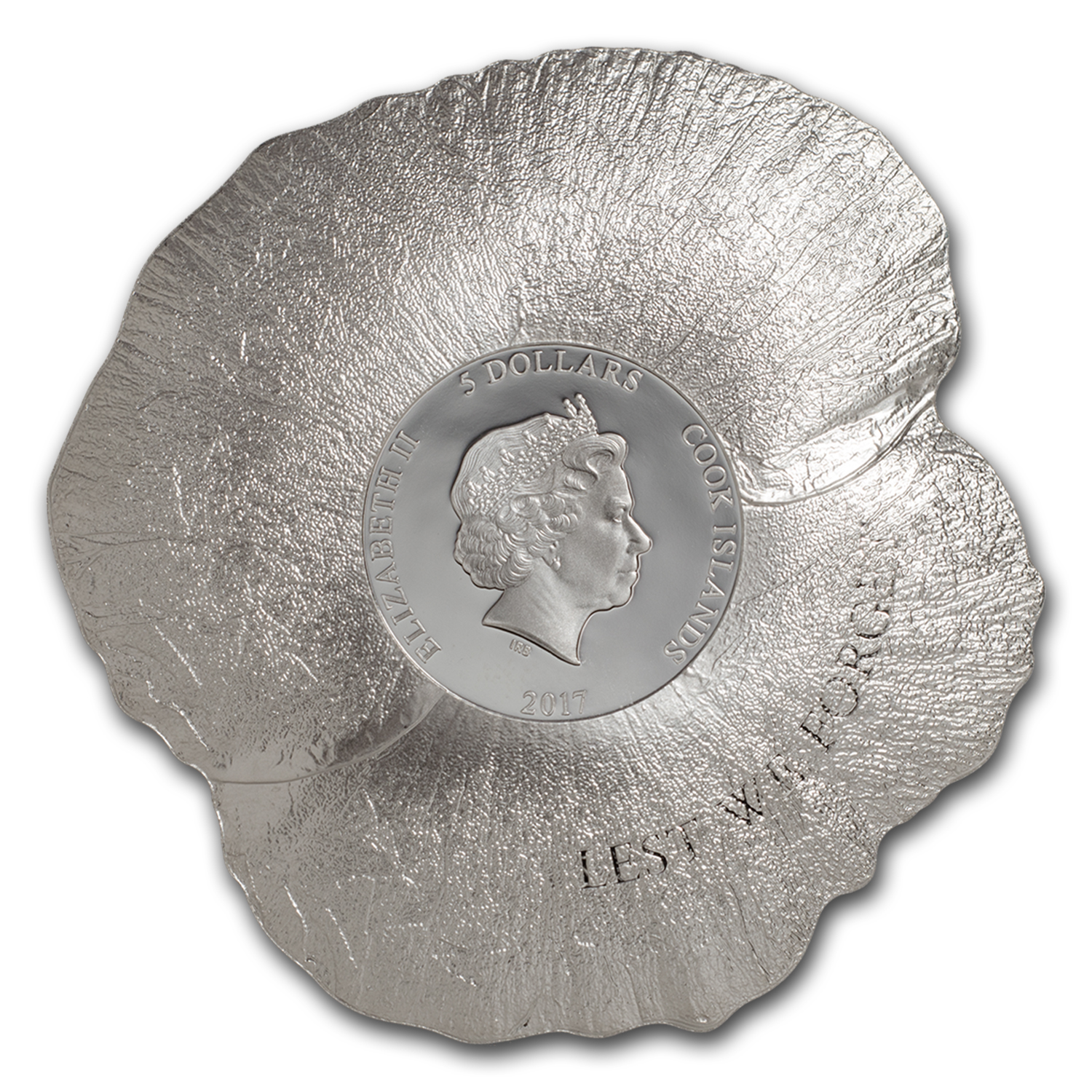 2017 Cook Islands 1 oz Silver $5 Remembrance Poppy Shape Coin