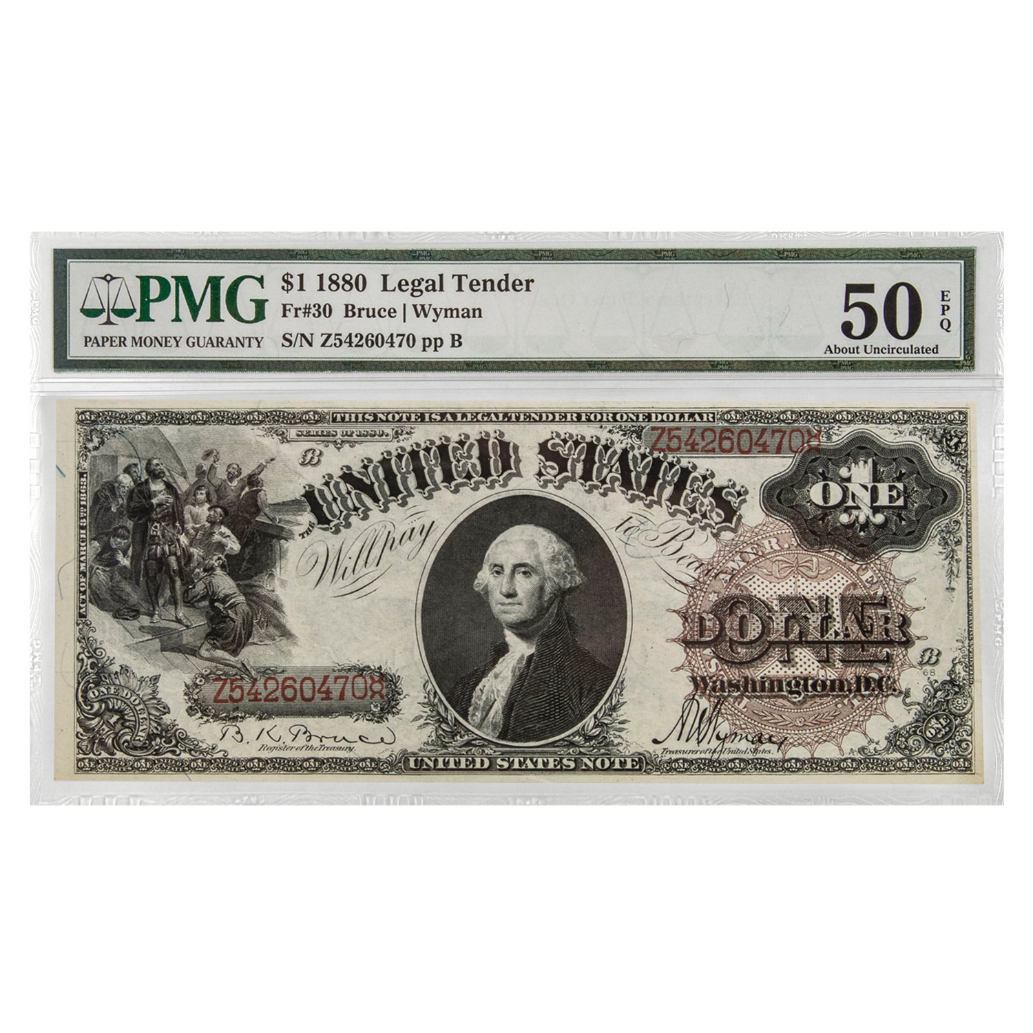 1880 $1.00 Legal Tender AU-50 EPQ PMG