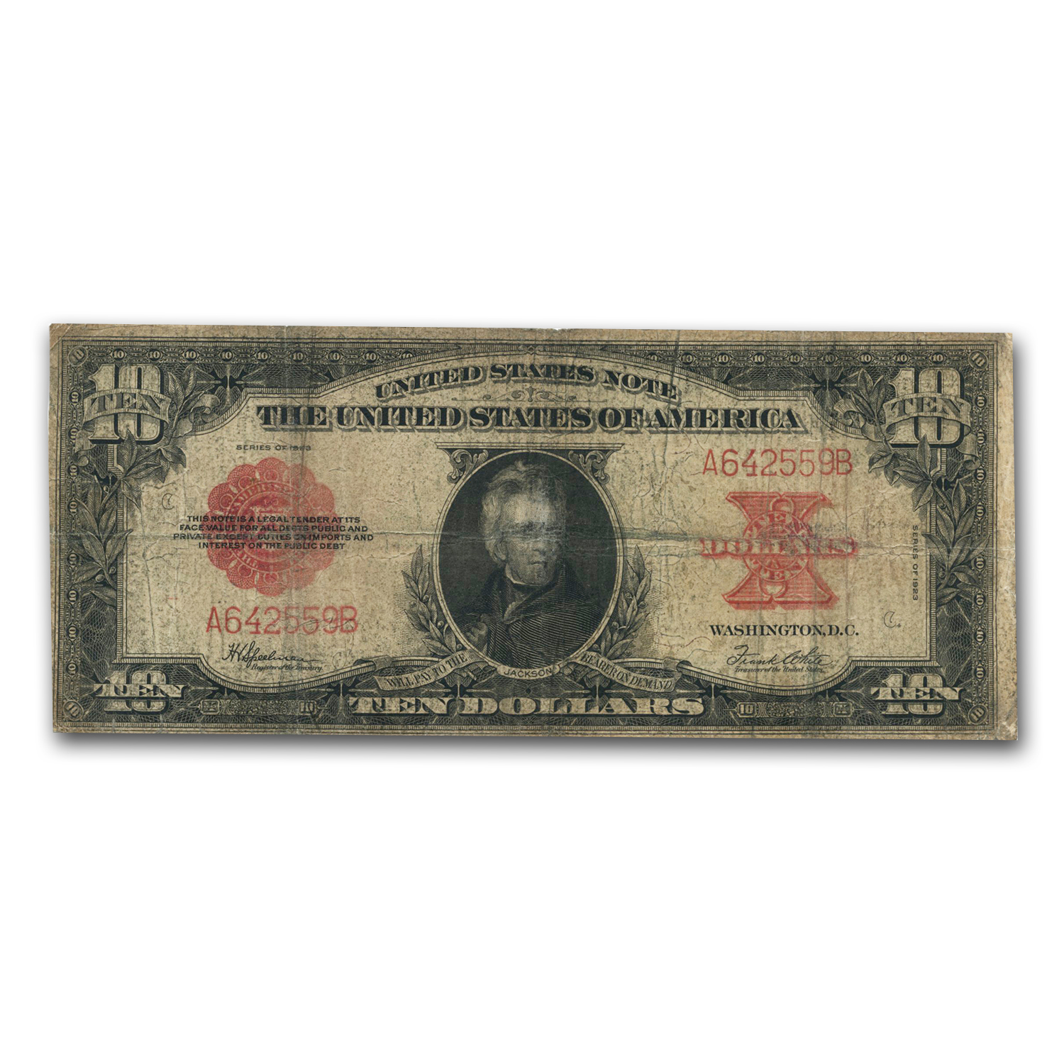 1923 $10 United States Note Red Seal VG (Poker Chip)