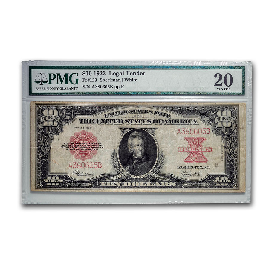 1923 $10 United States Note Red Seal VF-20 PMG (Poker Chip)