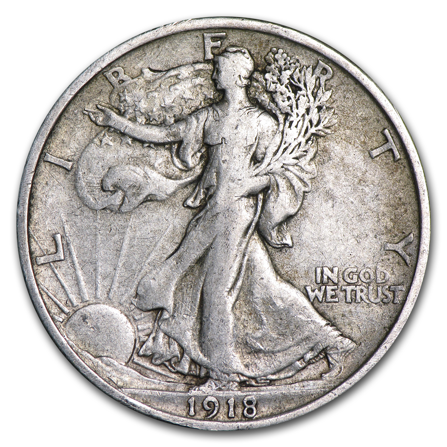 1918 Walking Liberty Half Dollar VF