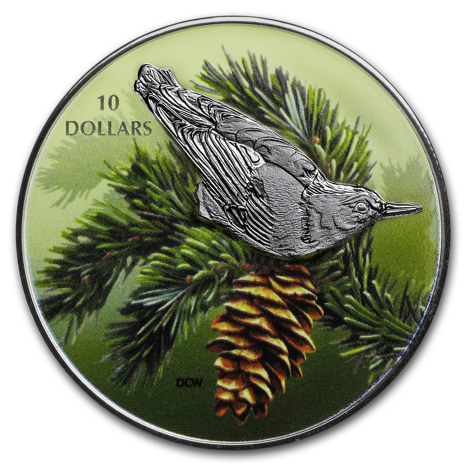 2017 Canada 1/2 oz Silver $10 Birds Among Nature: Nuthatch