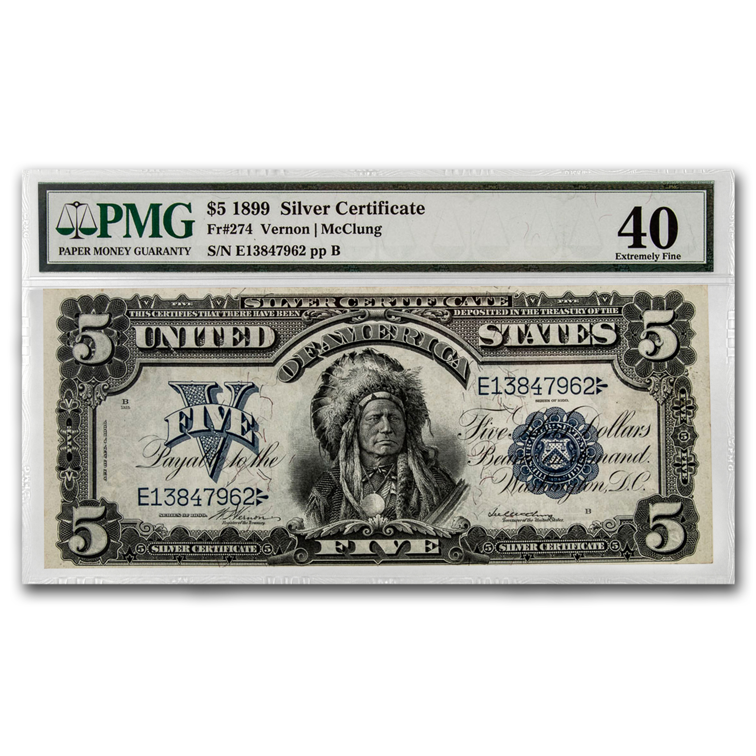 1899 $5.00 Silver Certificate Chief Running Antelope XF-40 PMG