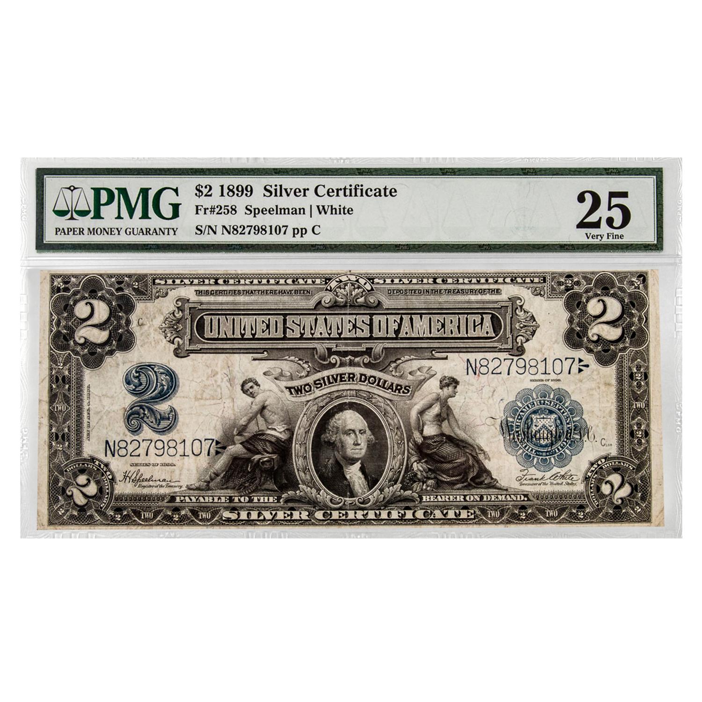 1899 2 00 Silver Certificate George Washington Vf 25 Pmg