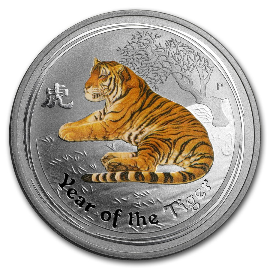 2010 Australia 1 Oz Silver Tiger Series Ii Colorized