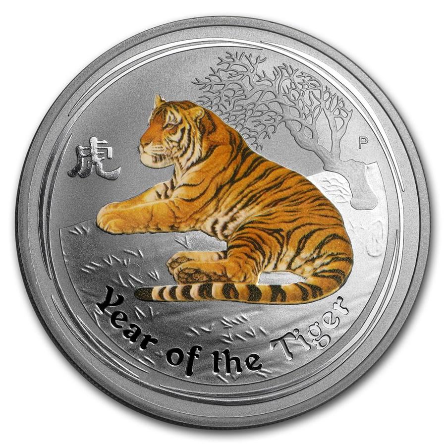 2010 Australia 1 Oz Silver Tiger Series Ii Colorized