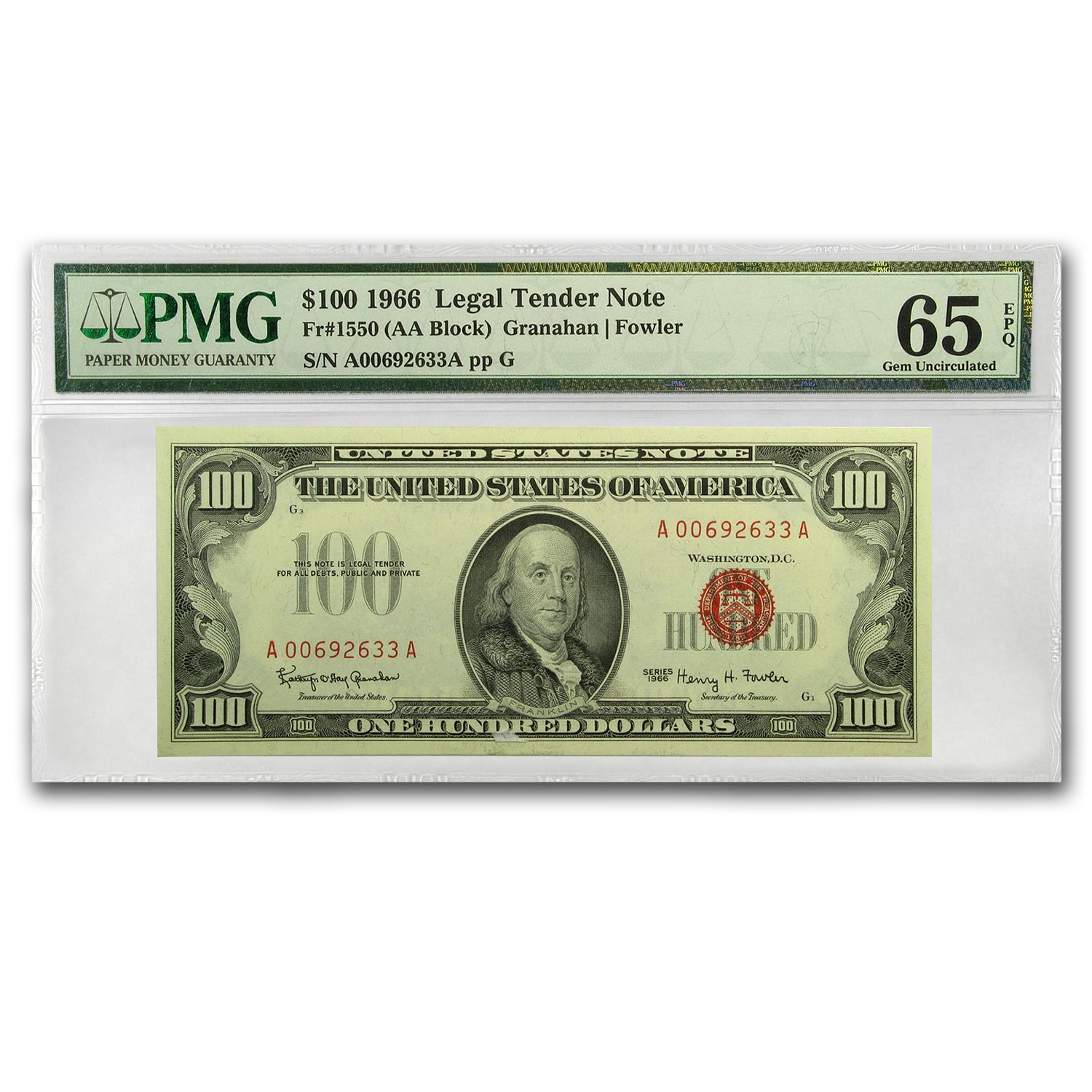 1966 $100 U.S. Note Red Seal CU-65 EPQ PMG