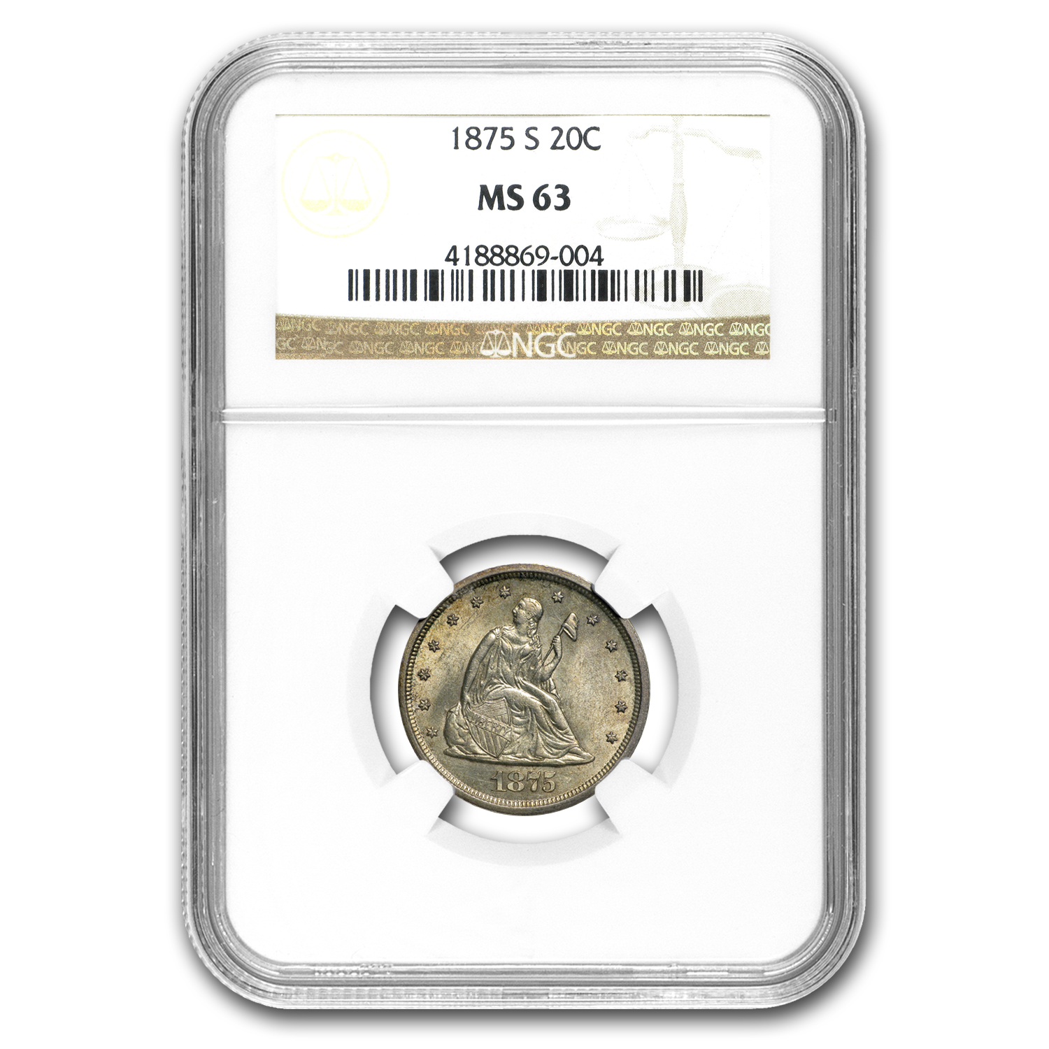 1875-S Twenty Cent Piece MS-63 NGC