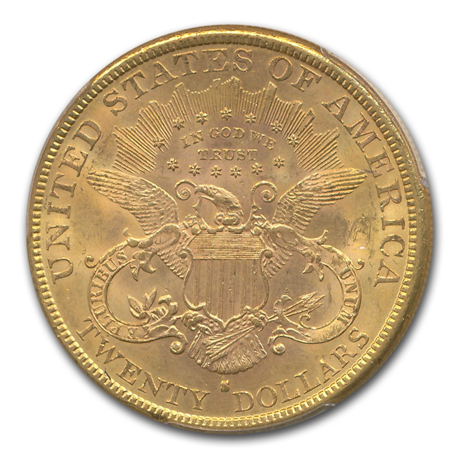 1883-S $20 Liberty Gold Double Eagle MS-62+ PCGS CAC