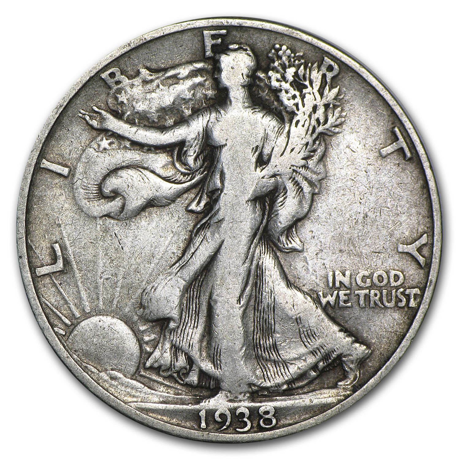 1938-D Walking Liberty Half Dollar VG