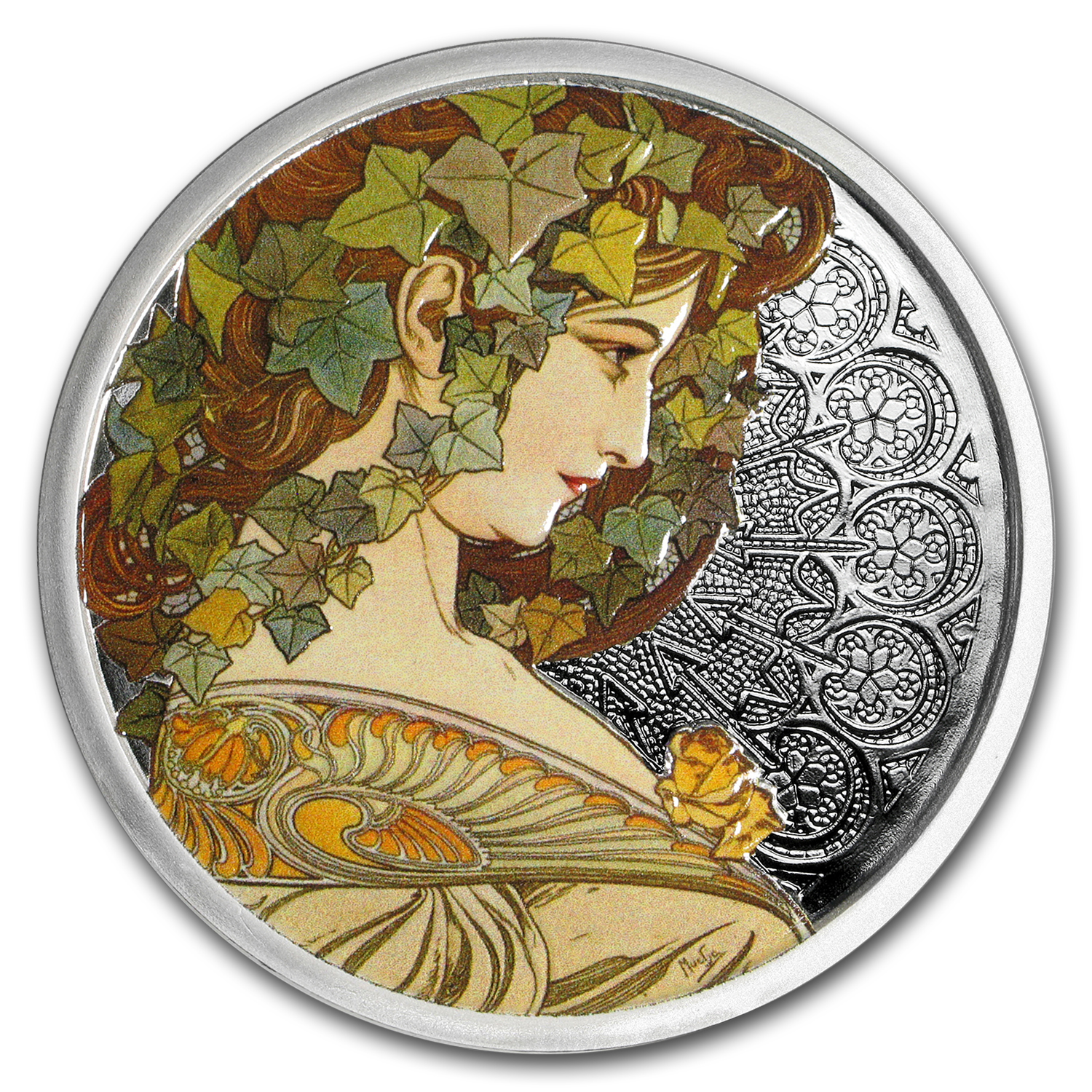 5 oz Silver Colorized Proof Mucha Collection (Ivy)
