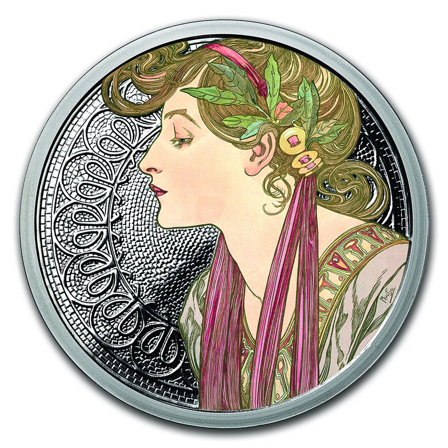 1 oz Silver Colorized Round Mucha Collection (Laurel)