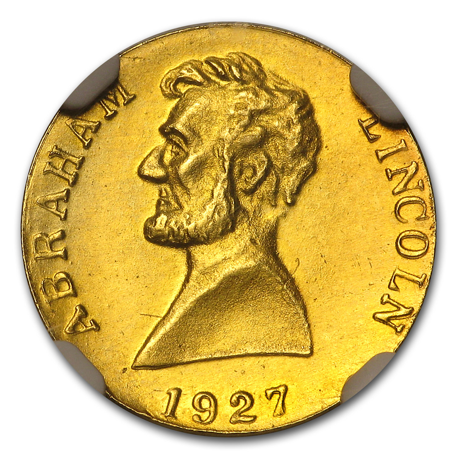 1927 Thomas Elder Issue Gold Abraham Lincoln Token MS-65 NGC