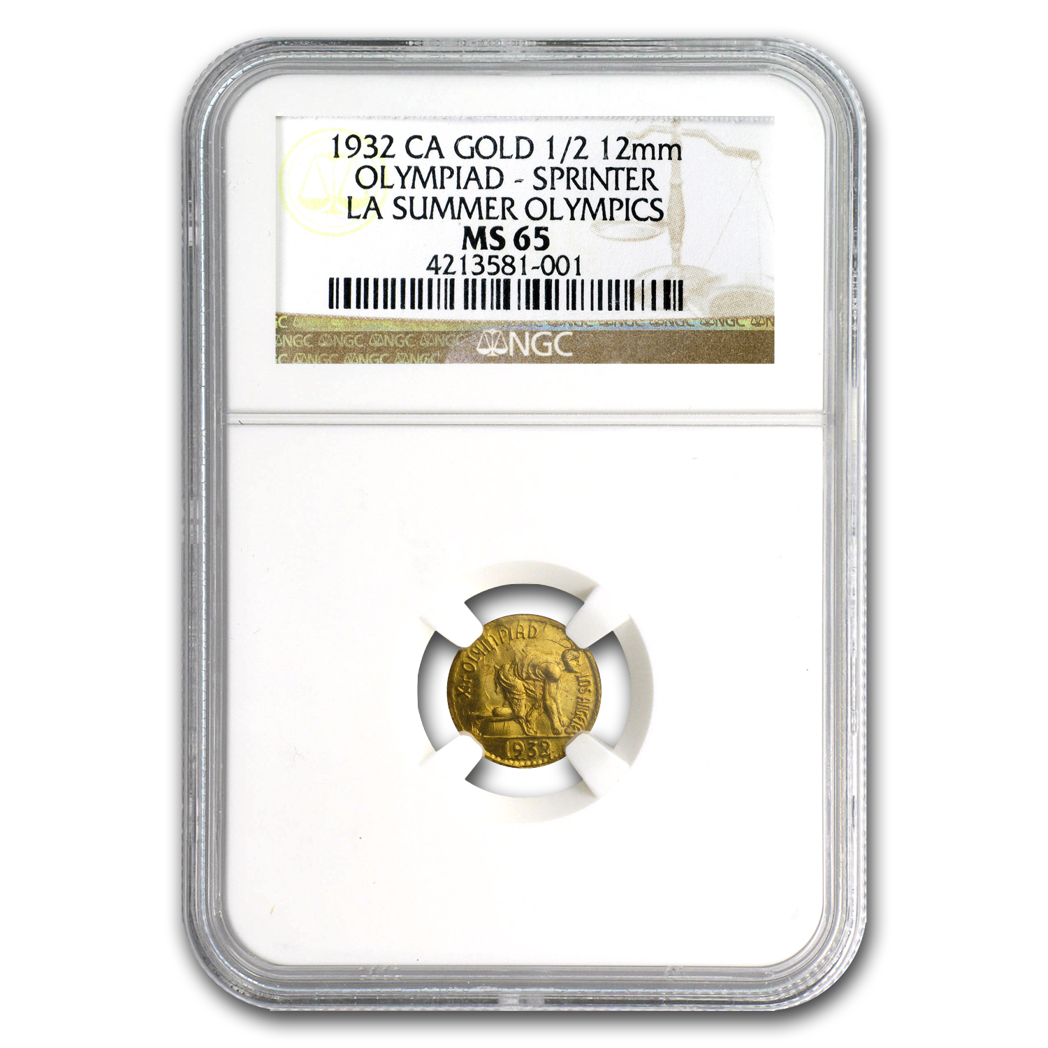 1932 Cal. Gold Los Angeles Summer Olympics: Sprinter MS-65 NGC