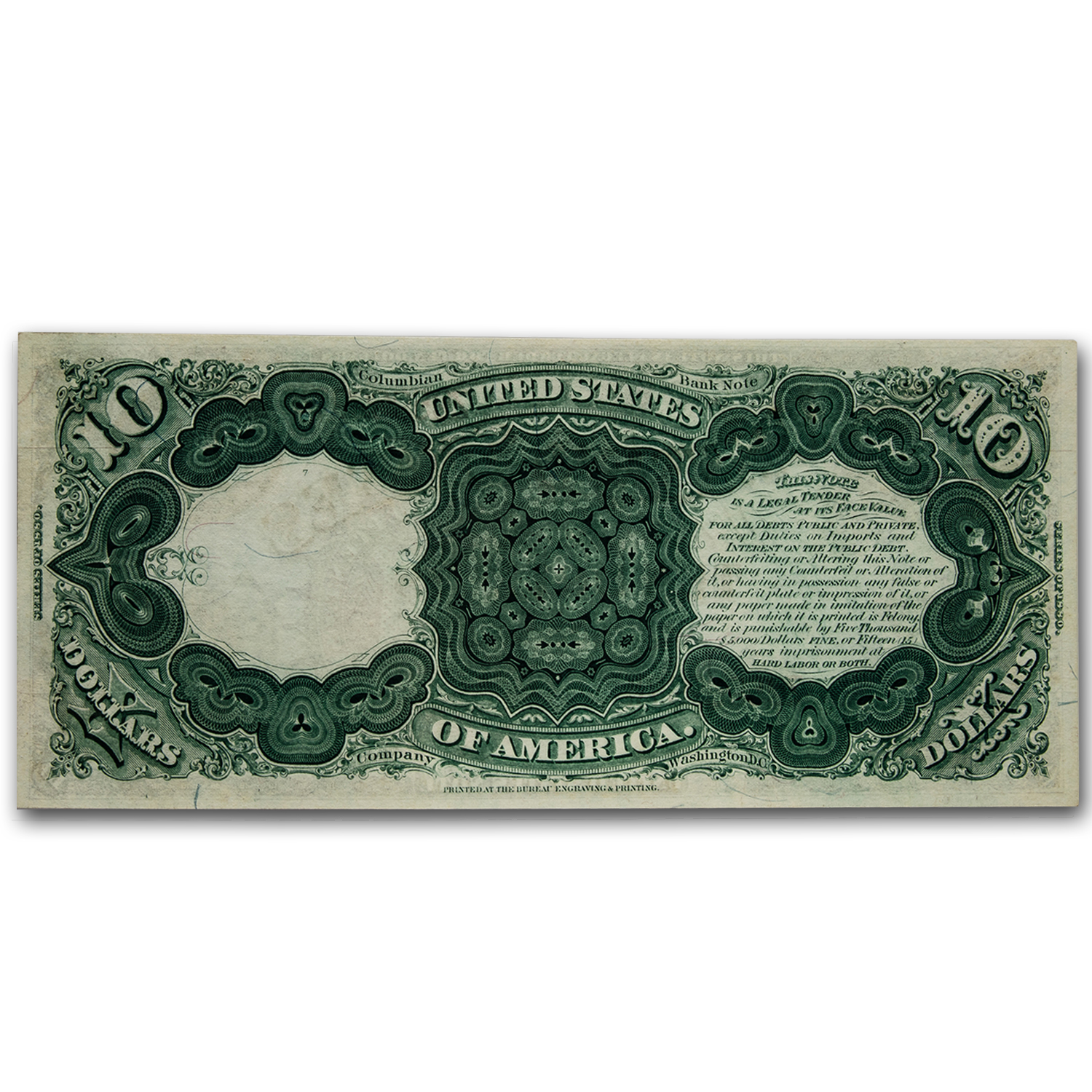 1880 $10 Legal Tender Head of Daniel Webster CU-64 EPQ PMG