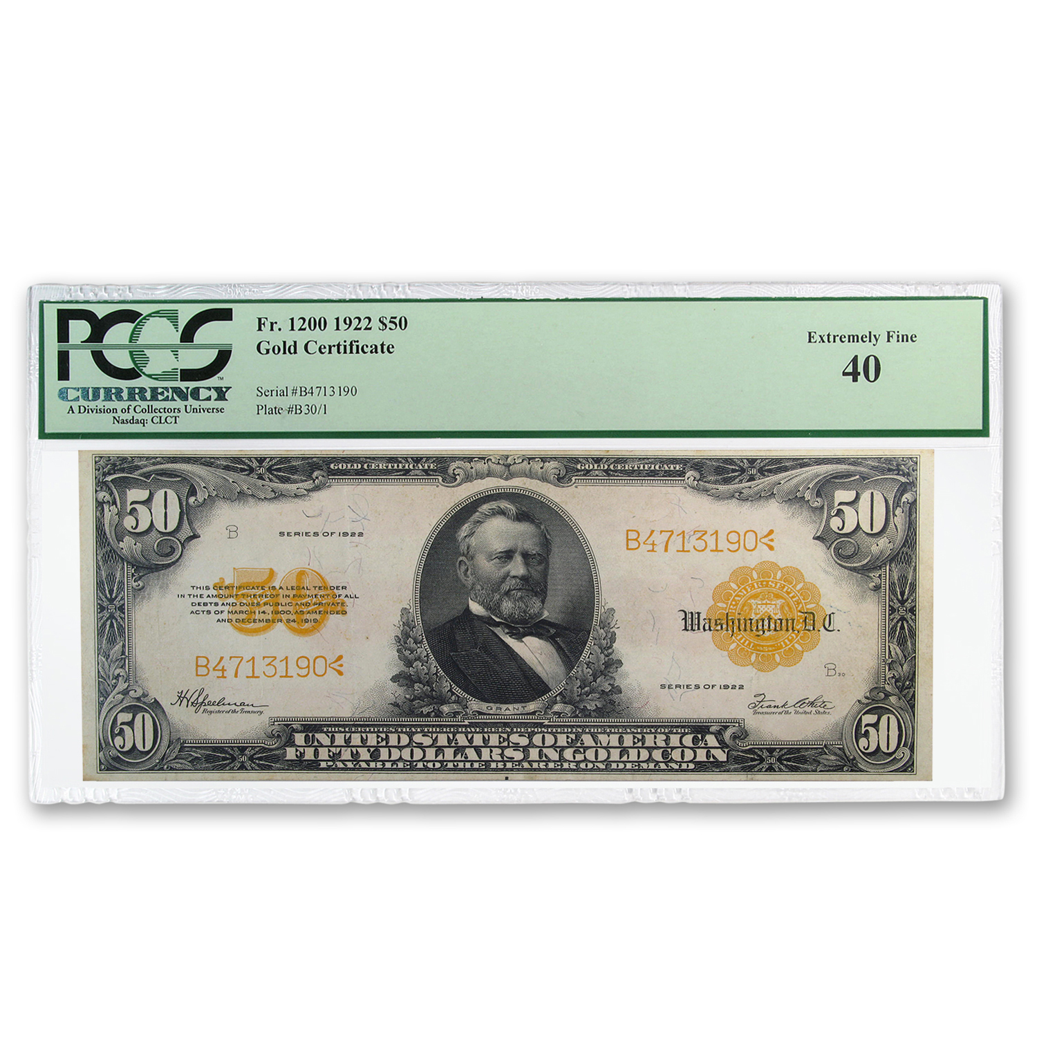 1922 $50 Gold Certificate XF-40 PCGS