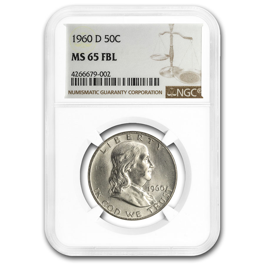 1960-D Franklin Half Dollar MS-65 NGC (FBL)