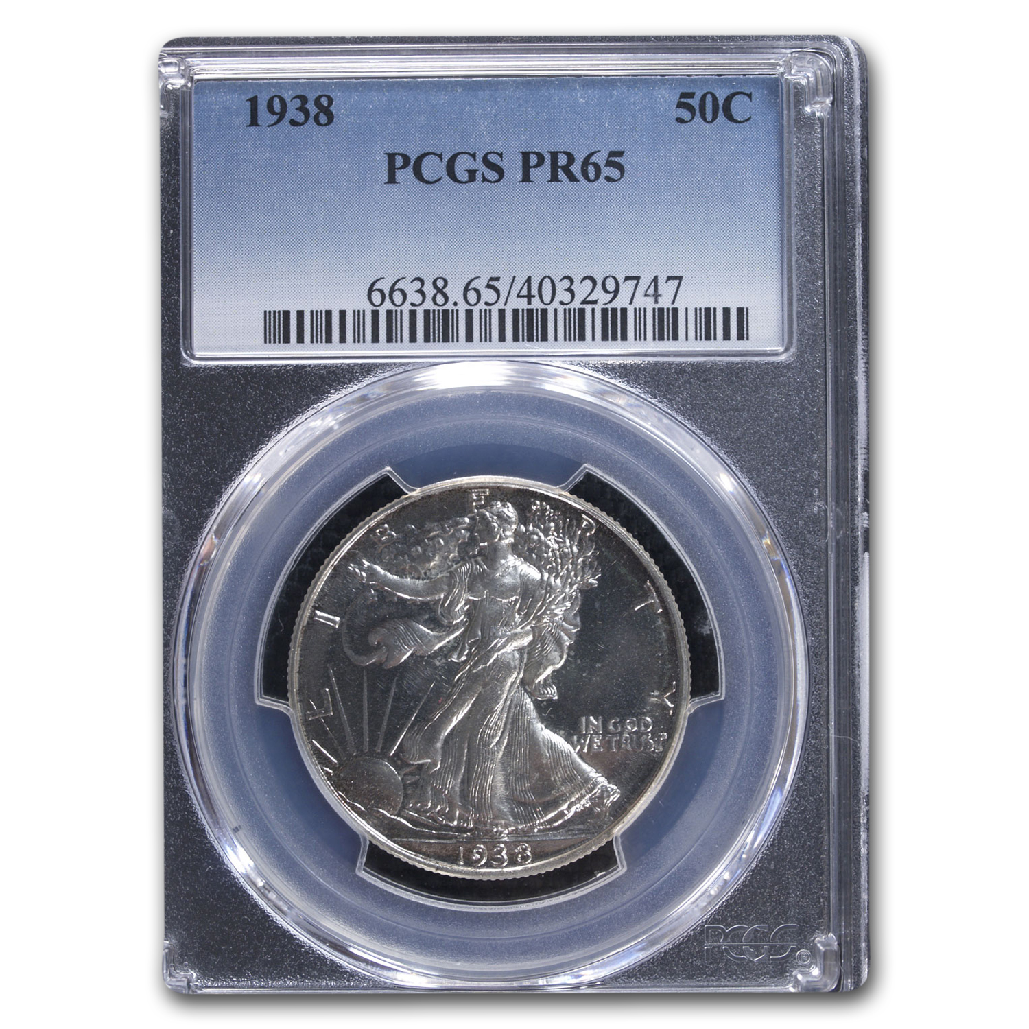 1938 Walking Liberty Half Dollar PR-65 PCGS