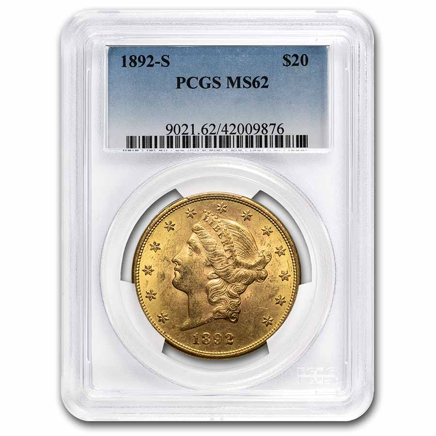 1892-S $20 Liberty Gold Double Eagle MS-62 PCGS