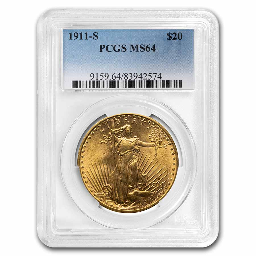 1911-S $20 St. Gaudens Gold Double Eagle - MS-64 PCGS