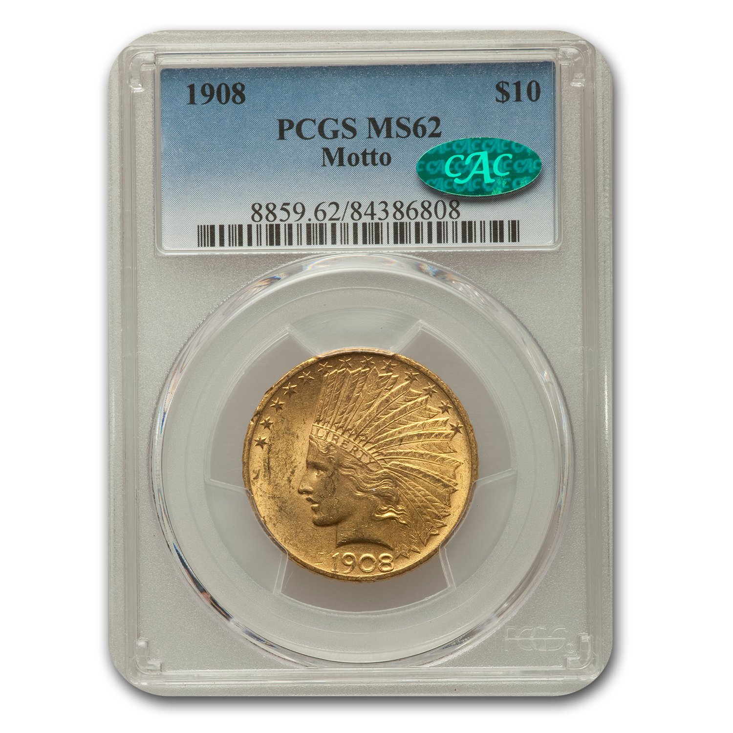 1908 $10 Indian Gold Eagle w/Motto MS-62 PCGS CAC