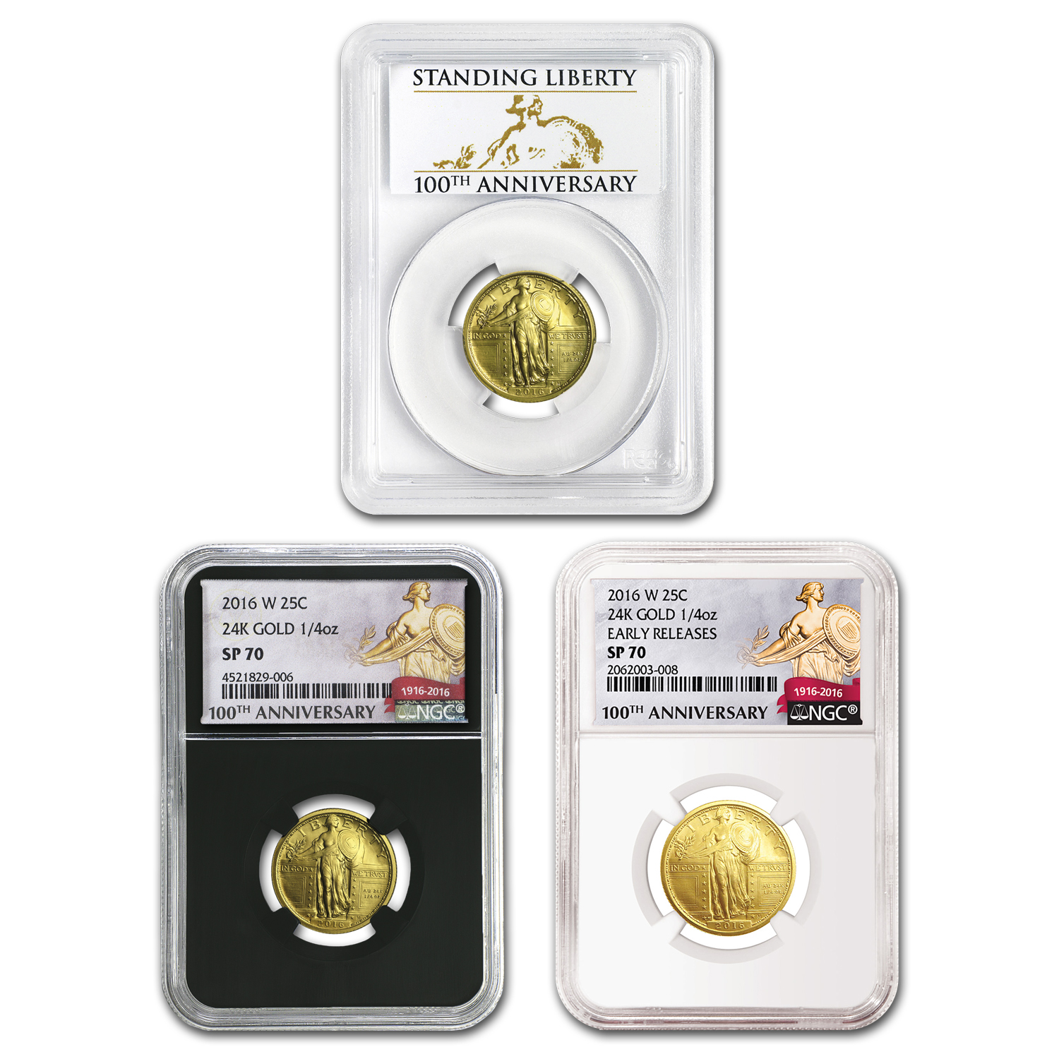 2016-W Gold Standing Liberty Quarter SP-70 NGC/PCGS Mixed Labels