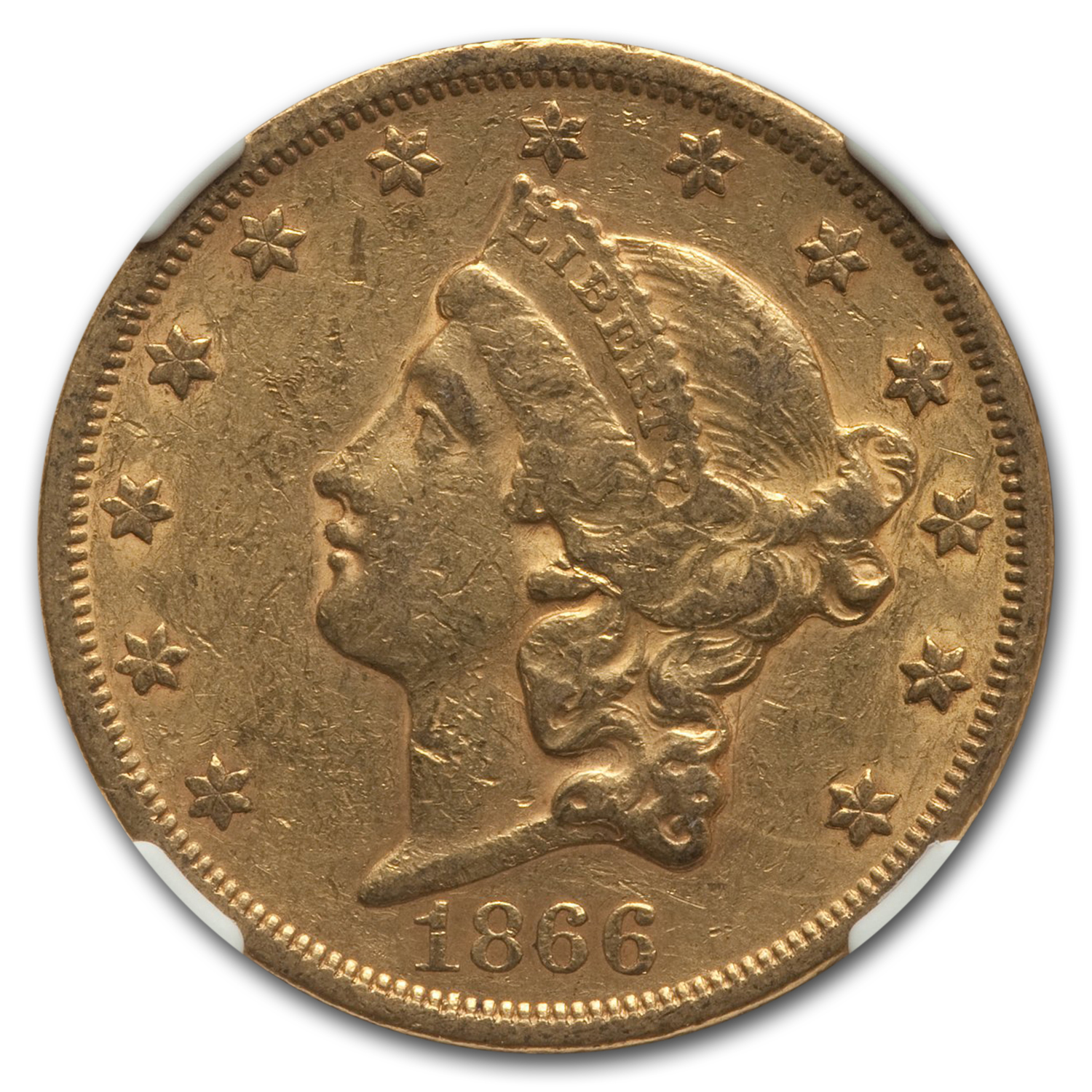 1866-S $20 Liberty Gold Double Eagle AU-53 NGC (w/Motto)