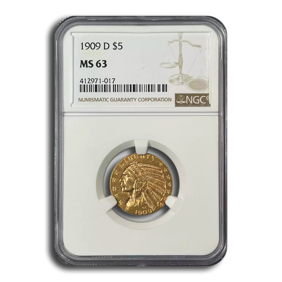 1909-D $5 Indian Gold Half Eagle MS-63 NGC