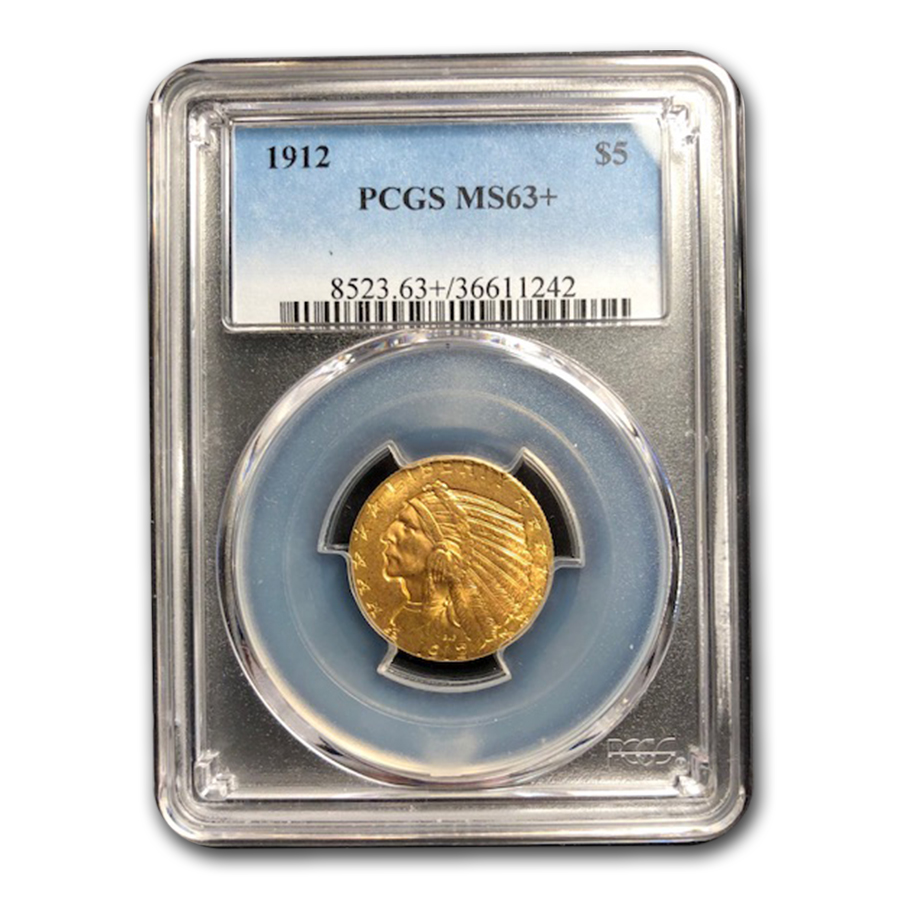 1912 $5 Indian Gold Half Eagle MS-63+ PCGS